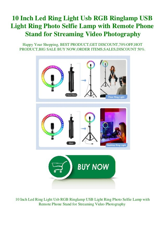 10 Inch Led Ring Light Usb RGB Ringlamp USB Light Ring Photo Selfie Lamp with Remote Phone Stand for Streaming Video Photo...
