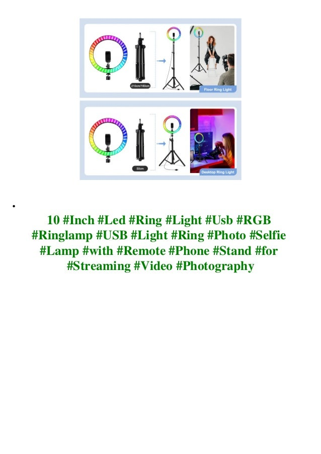 10 #Inch #Led #Ring #Light #Usb #RGB #Ringlamp #USB #Light #Ring #Photo #Selfie #Lamp #with #Remote #Phone #Stand #for #St...