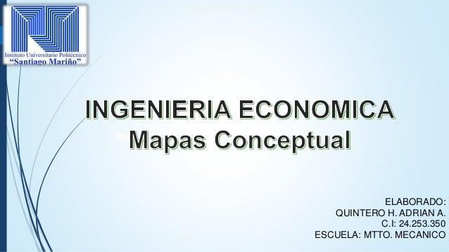 ELABORADO: QUINTERO H. ADRIAN A. C.I: 24.253.350 ESCUELA: MTTO. MECANICO RIA ECONOMICA Mapa conceptual