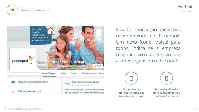 """"""" # $ E.life Social CRM 10 Inovações de Social CRM para 2016 3 Selo responde rápido Essa foi a inovação que vimos recente..."""