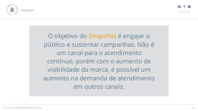 """"""" # $ E.life Social CRM 10 Inovações de Social CRM para 2016 33 Snapchat O objetivo do Snapchat é engajar o público e sus..."""