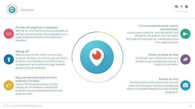 """"""" # $ E.life Social CRM 10 Inovações de Social CRM para 2016 35 Formato de perguntas e respostas: Além de ser uma boa for..."""