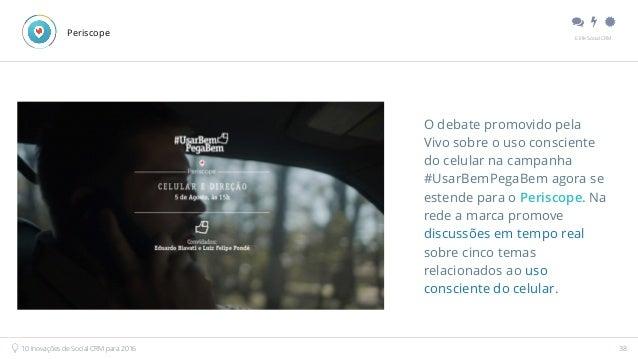 """"""" # $ E.life Social CRM 10 Inovações de Social CRM para 2016 38 Periscope O debate promovido pela Vivo sobre o uso consci..."""