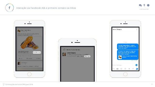""""""" # $ E.life Social CRM 10 Inovações de Social CRM para 2016 7 Interação via Facebook Ads e primeiro contato via Inbox!"""