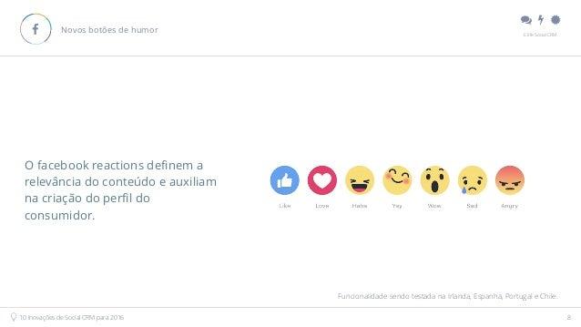 """"""" # $ E.life Social CRM 10 Inovações de Social CRM para 2016 8 Novos botões de humor! O facebook reactions definem a relev..."""