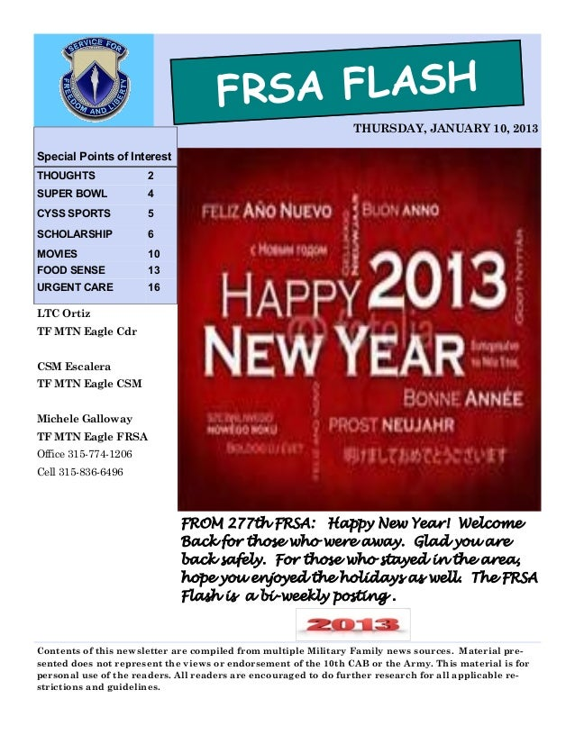FRSA FLASH                                                                THURSDAY, JANUARY 10, 2013Special Points of Inte...