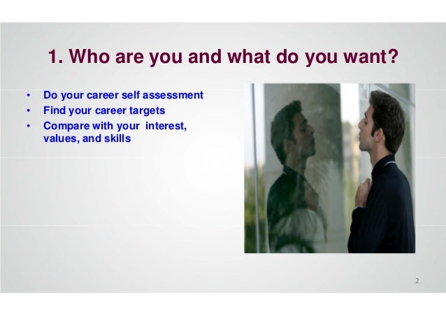 1. Who are you and what do you want? • Do your career self assessment • Find your career targets • Compare with your inter...