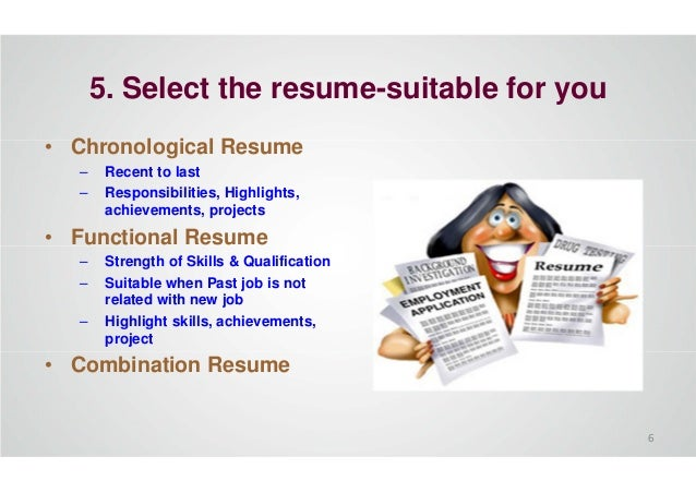 5. Select the resume-suitable for you • Chronological Resume – Recent to last – Responsibilities, Highlights, achievements...
