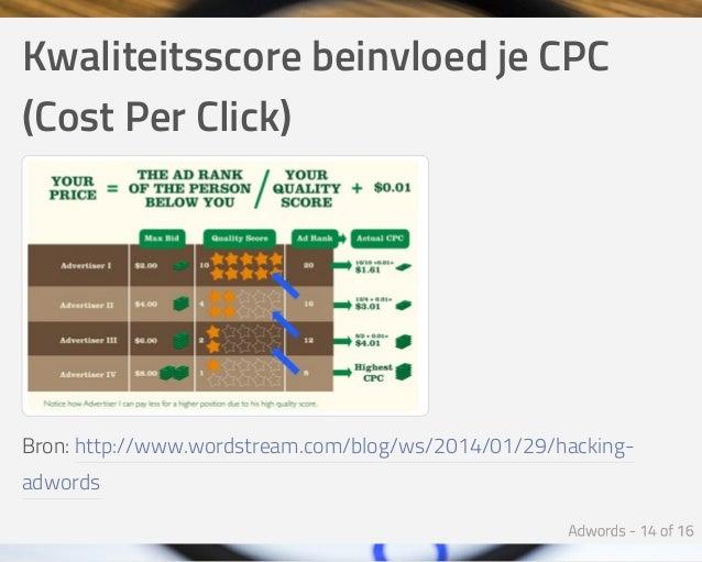 KwaliteitsscorebeinvloedjeCPC (CostPerClick) Bron:http://www.wordstream.com/blog/ws/2014/01/29/hacking- adwords