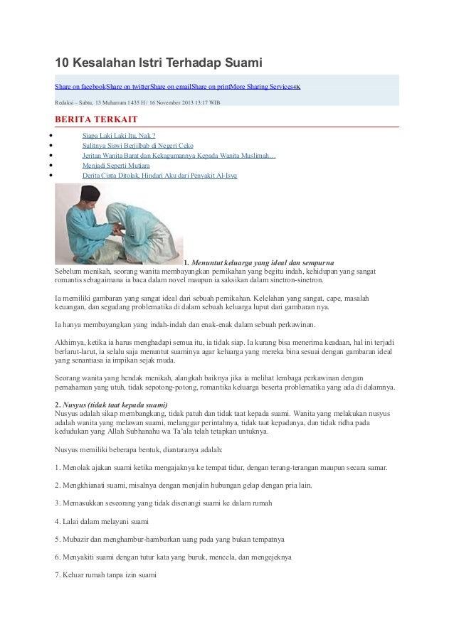 10 Kesalahan Istri Terhadap Suami  Share on facebook Share on twitter Share on email Share on print More Sharing Services ...