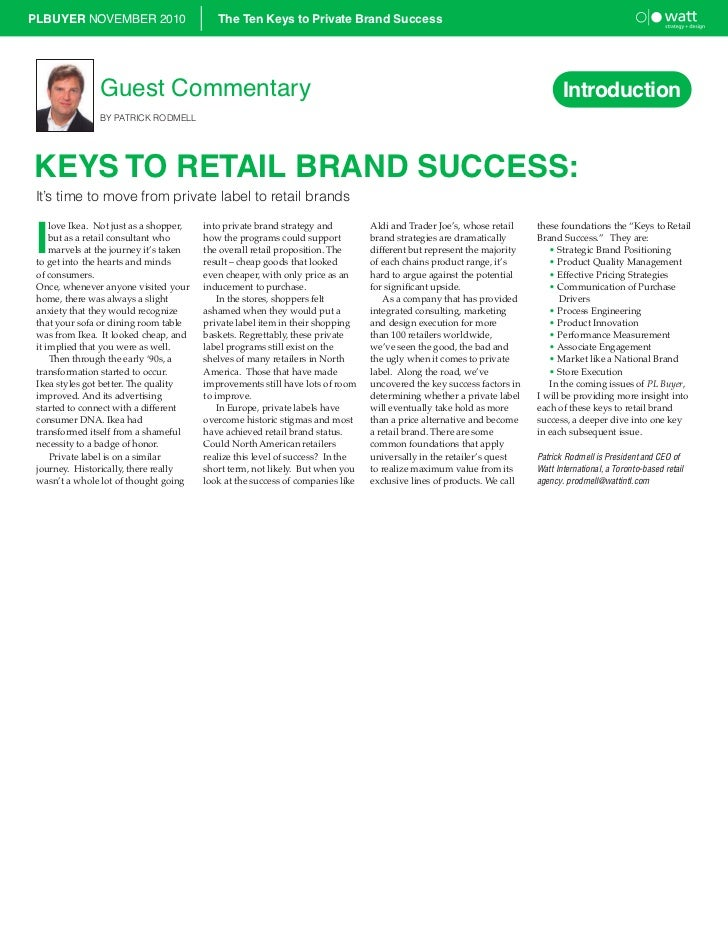 PLBUYER NOVEMBER 2010                       The Ten Keys to Private Brand Success                Guest Commentary         ...
