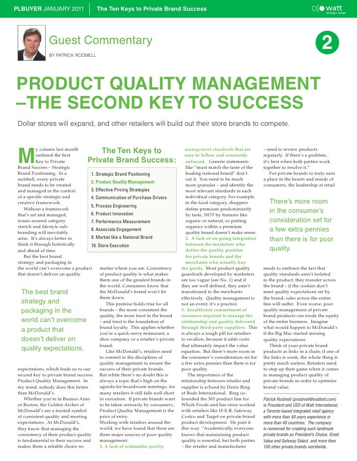 PLBUYER JANUARY 2011                     The Ten Keys to Private Brand Success                 Guest Commentary           ...