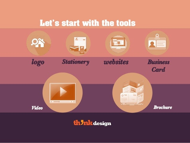 Let's start with the tools logo Stationery websites Business Card Video Brochure