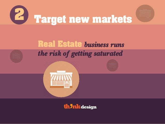 Target new markets Real Estate business runs the risk of getting saturated 2