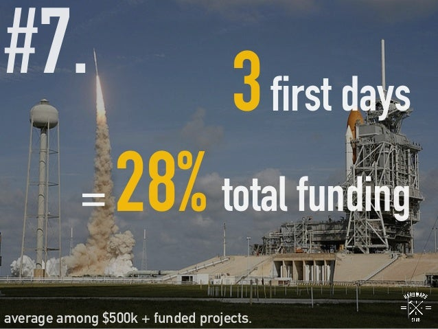 #7.   3first days = 28% total funding average among $500k + funded projects.