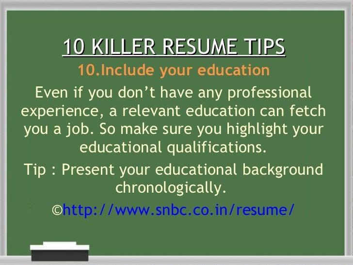 10 10 killer resume tips