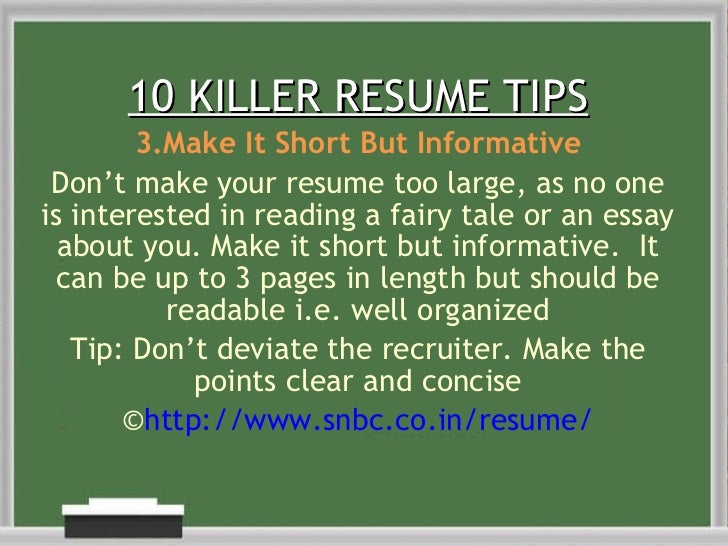10 killer resume tips