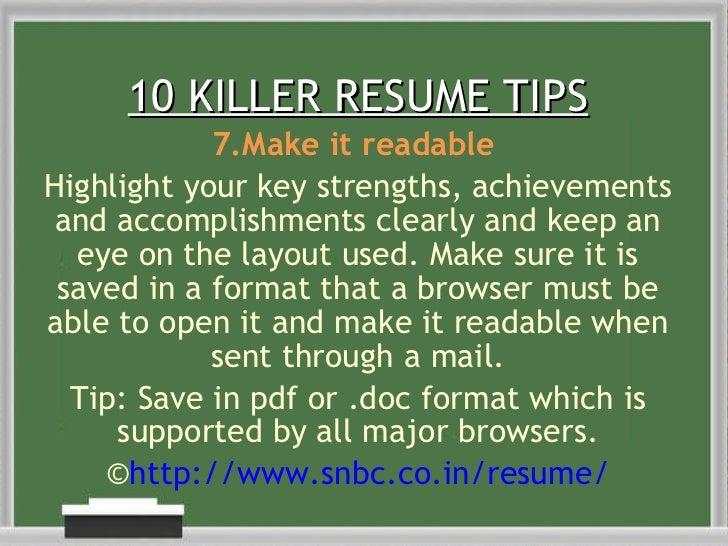 10 killer resume tips