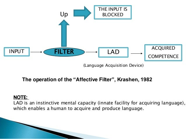 affective filter Krashen (1984) applies his theory of the affective filter to the acquisition of writing competence learners who are anxious or have low expectations of success are less likely to become proficient writers, regardless of the amount and quality of the reading they do.