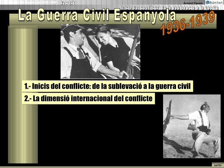 La Guerra Civil Espanyola 1936-1939 1.- Inicis del conflicte: de la sublevació a la guerra civil 2.- La dimensió internaci...