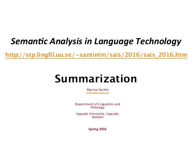 Seman&c  Analysis  in  Language  Technology   http://stp.lingfil.uu.se/~santinim/sais/2016/sais_2016.htm   Summ...