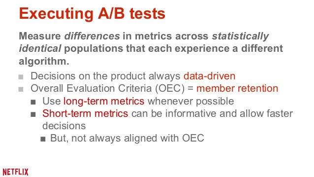Offline testing  ■ Measure model performance, using  (IR) metrics  ■ Offline performance used as an  indication to make in...