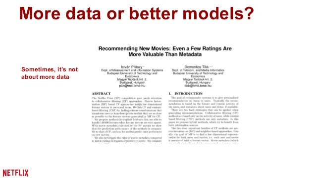 """More data or better models?  [Banko and Brill, 2001]  Norvig: """"Google does not  have better Algorithms,  only more Data""""  ..."""