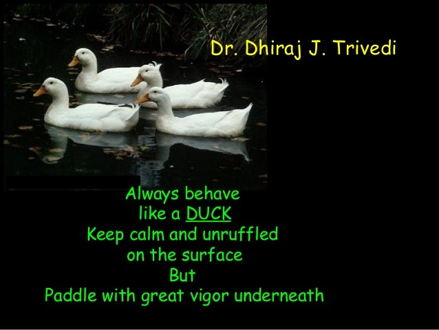Always behave like a DUCK Keep calm and unruffled on the surface But Paddle with great vigor underneath Dr. Dhiraj J. Triv...