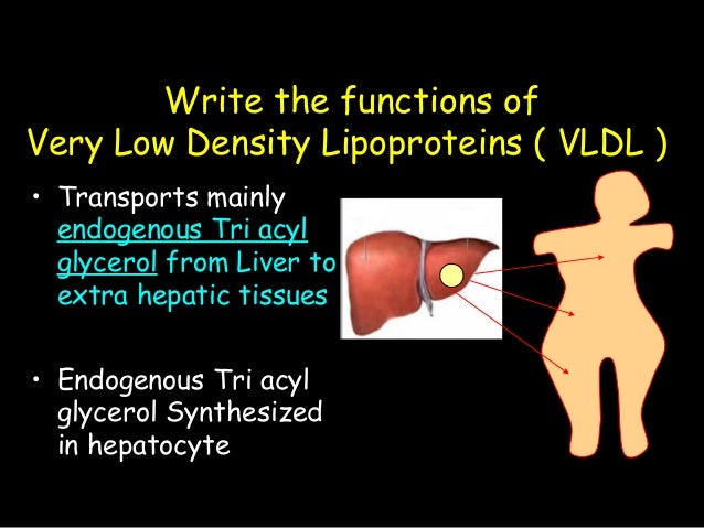 Write the functions of Very Low Density Lipoproteins ( VLDL ) • Transports mainly endogenous Tri acyl glycerol from Liver ...