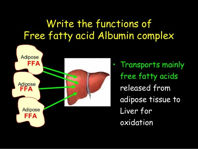 Write the functions of Free fatty acid Albumin complex • Transports mainly free fatty acids released from adipose tissue t...