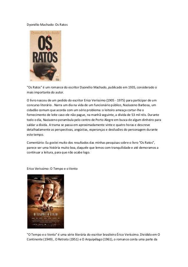 """Dyonélio Machado: Os Ratos """"Os Ratos"""" é um romance do escritor Dyonélio Machado, publicado em 1935, considerado o mais imp..."""