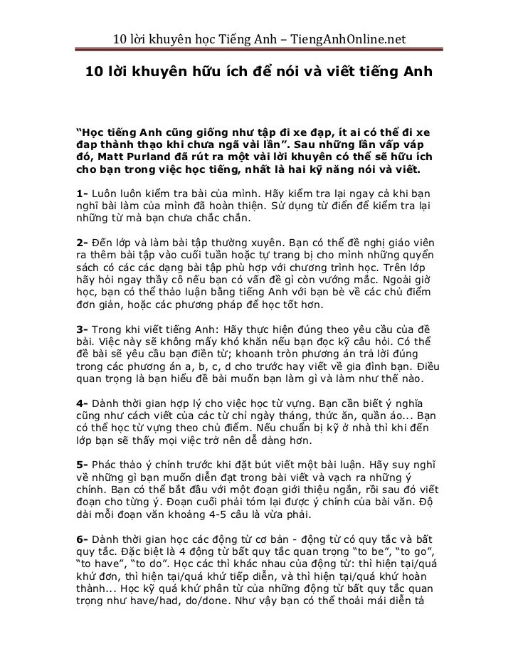 """10 lời khuyên học Tiếng Anh – TiengAnhOnline.net 10 lời khuyên hữu ích để nói và viết tiếng Anh""""Học tiếng Anh cũng giống n..."""