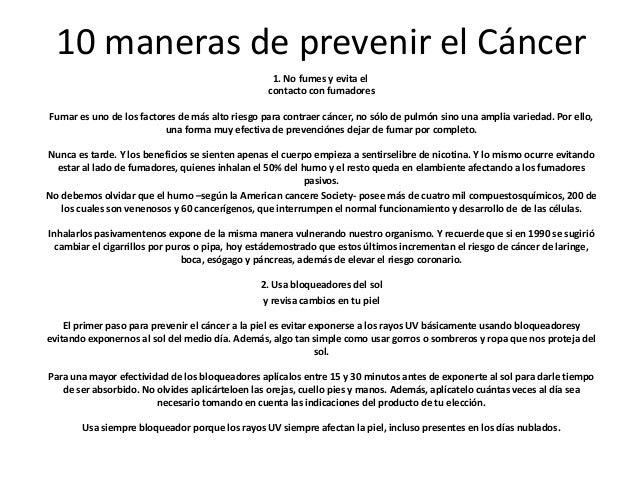 10 maneras de prevenir el cáncer