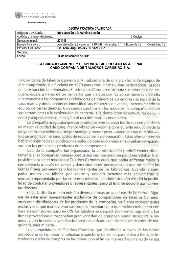 Estudios Generales                                          DECIMA PRÁCTICA CALIFICADAAsignatura evaluada:              In...