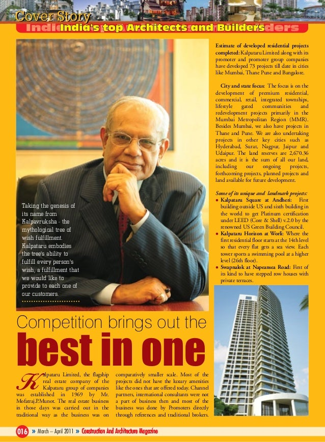 Cover Story Estimate of developed residential projects completed: Kalpataru Limited along with its promoter and promoter g...
