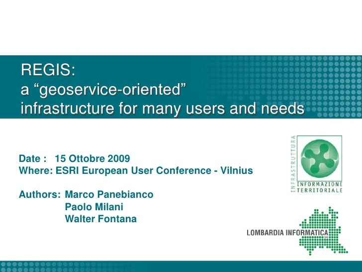 """REGIS: a """"geoservice-oriented""""infrastructure for many users and needs<br />"""