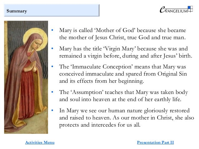 Summary of mother mary's life