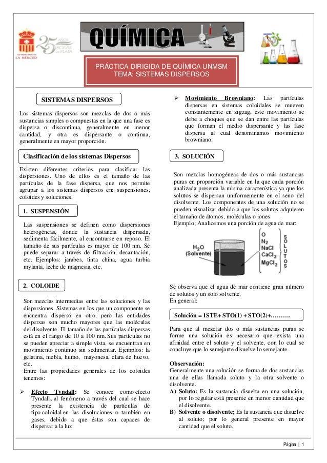 PRÁCTICA DIRIGIDA DE QUÍMICA UNMSM                                   TEMA: SISTEMAS DISPERSOS        SISTEMAS DISPERSOS   ...