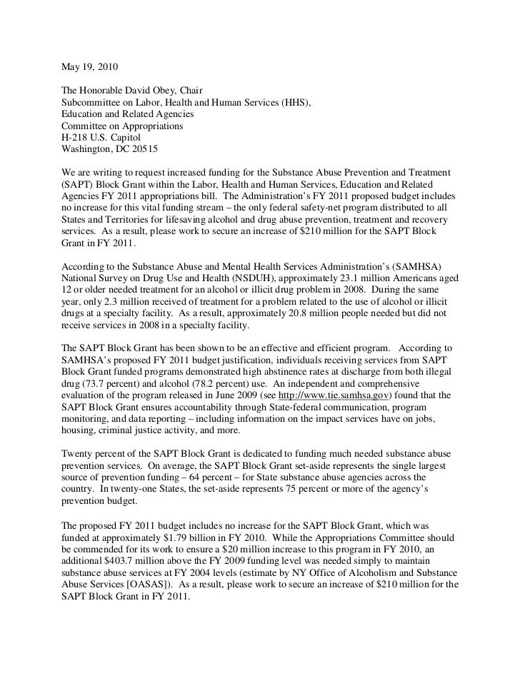 May 19, 2010  The Honorable David Obey, Chair Subcommittee on Labor, Health and Human Services (HHS), Education and Relate...