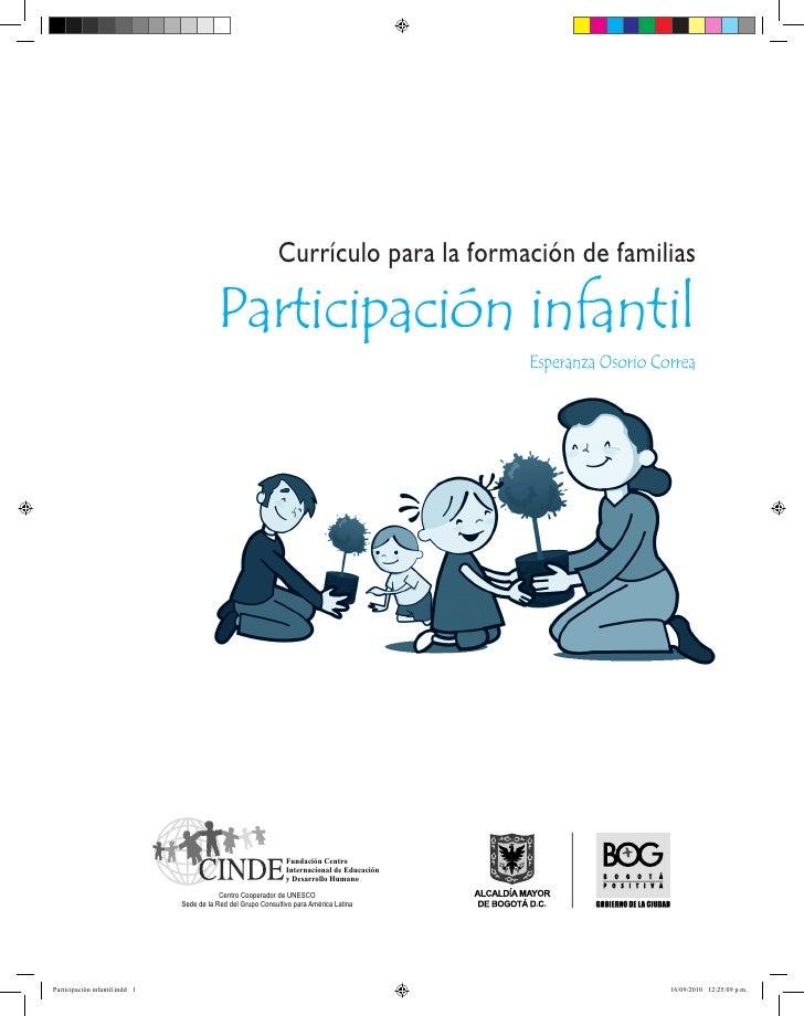 Currículo para la formación de familias                                           Participación infantil                  ...