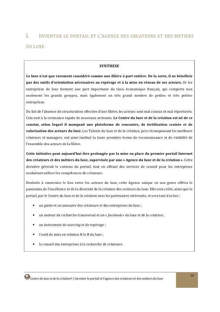 I.          INVENTER LE PORTAIL ET L'AGENCE DES CREATEURS ET DES METIERS DU LUXE                                          ...