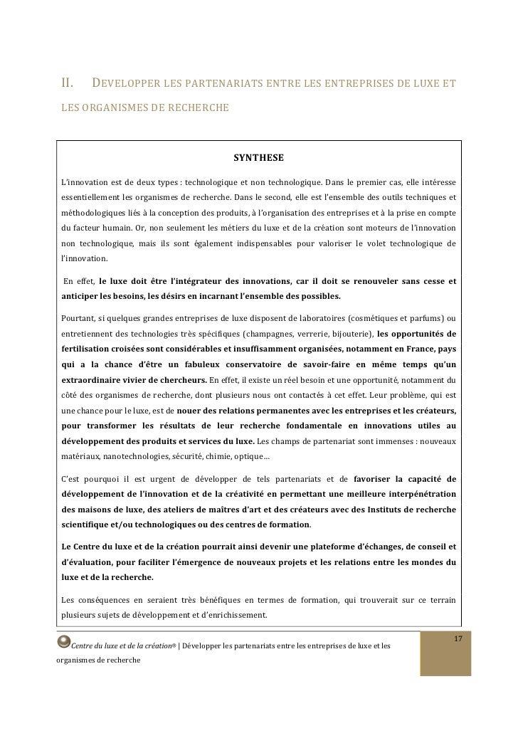 II.     DEVELOPPER LES PARTENARIATS ENTRE LES ENTREPRISES DE LUXE ET  LES ORGANISMES DE RECHERCHE                         ...