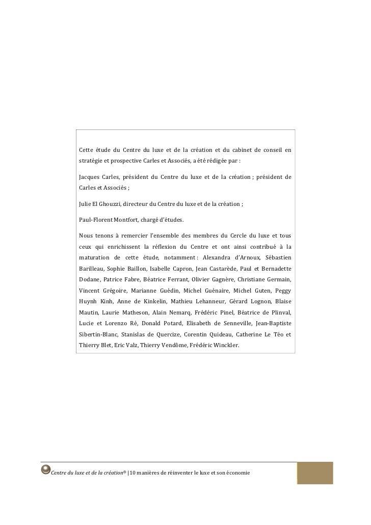 Cette étude du Centre du luxe et de la création et du cabinet de conseil en             stratégie et prospective Carles et...