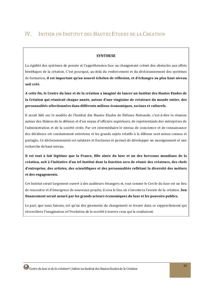 IV.      INITIER UN INSTITUT DES HAUTES ETUDES DE LA CREATION                                                           SY...