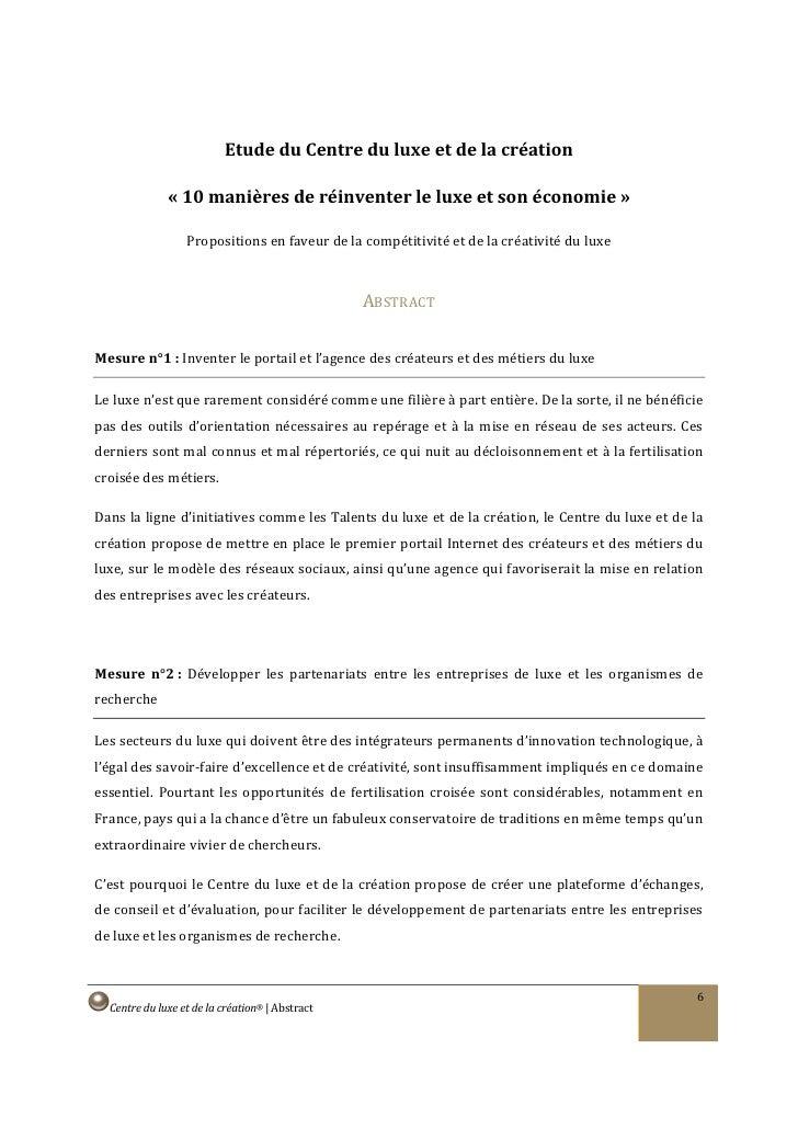 Etude du Centre du luxe et de la création                « 10 manières de réinventer le luxe et son économie »            ...