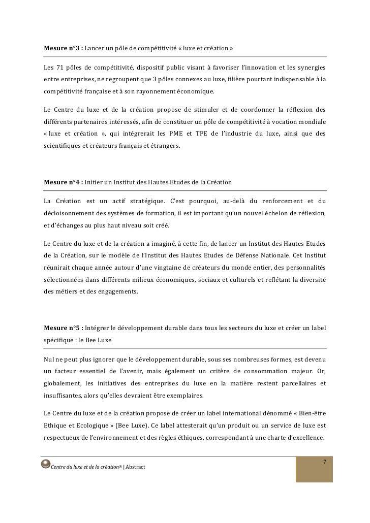 Mesure n°3 : Lancer un pôle de compétitivité « luxe et création »  Les 71 pôles de compétitivité, dispositif public visant...