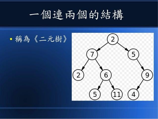 一個連兩個的結構 ● 稱為《二元樹》