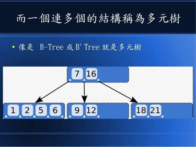 而一個連多個的結構稱為多元樹 ● 像是 B-Tree 或 B+ Tree 就是多元樹
