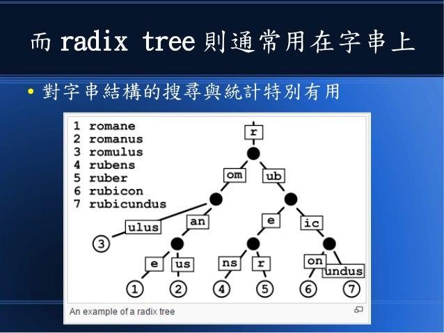 而 radix tree 則通常用在字串上 ● 對字串結構的搜尋與統計特別有用