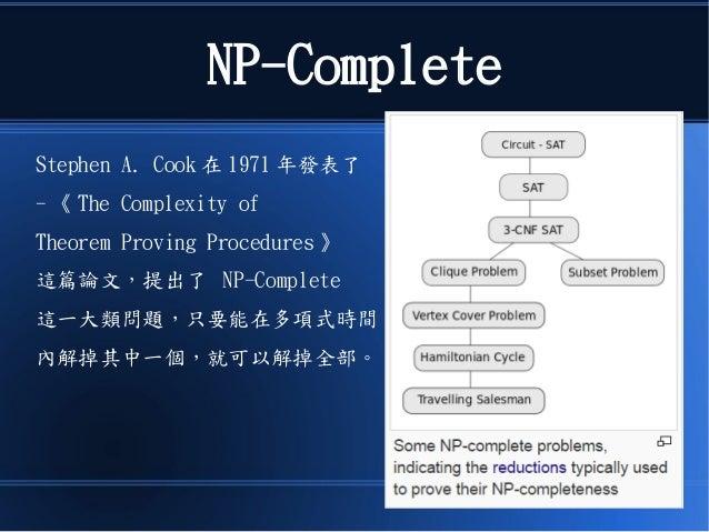 NP-Complete Stephen A. Cook 在 1971 年發表了 - 《 The Complexity of Theorem Proving Procedures 》 這篇論文,提出了 NP-Complete 這一大類問題,只要能...